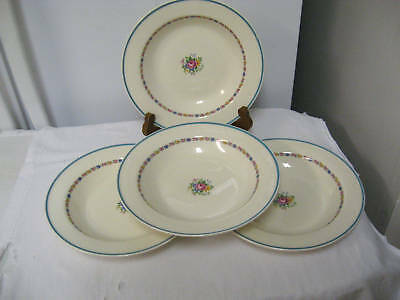 "Lot 4 Older EDWIN M KNOWLES Semi Vitreous 8 1/4"" Large Bowls-Roses,Blue Bank"