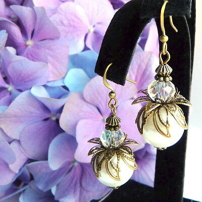 Victorian Art Nouveau Vintage Style Bronze Cream Pearl Clear Crystal Earrings