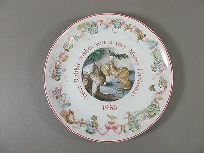 Wedgwood China Beatrix Potter PETER RABBIT Collectors Plate 1986 MERRY CHRISTMAS