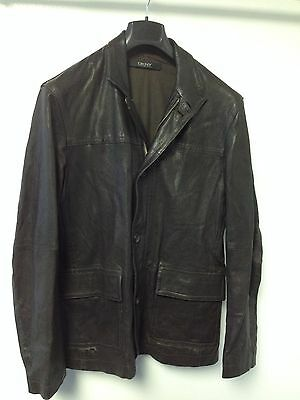 Men's Dkny Brown Leather Zip Front With Buttons Jacket  Approx Size L