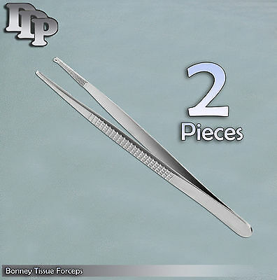 "2 Bonney Tissue Forceps 7.00"" 1X2 Teeth and Serrated jaws"