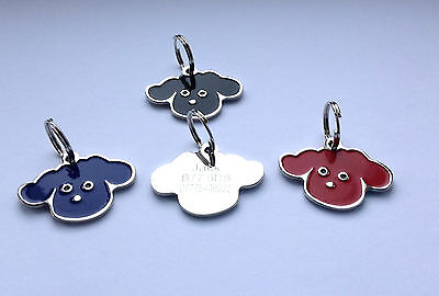 Pet ID Dog Tag 35mm Quality Dog Face Design. FREE ENGRAVING & SPLIT RING