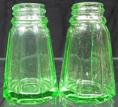 Vintage 1930's Depression Glass Hazel Atlas Vaseline Green Salt & Pepper