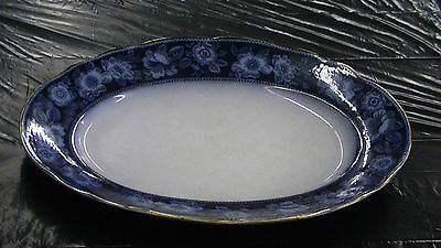 HUGE FLOW BLUE PLATTER PATTERN 14 ANTIQUE DISH EXCELLENT CONDITION LARGE TRAY