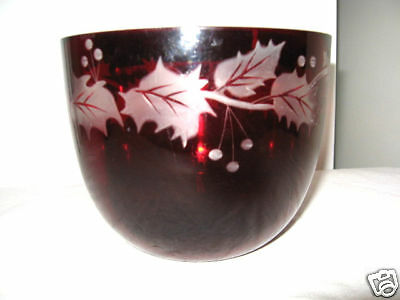 Older Ruby Glass Bowl with Clear Frosted Holly Design