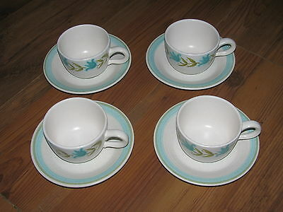 Lot of 4 Franciscan Tulip Time Cups and Saucers Excellent