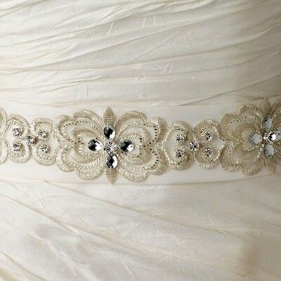 White or Ivory Floral Embroidered Crystal Beaded Bridal Sash Wedding Belt