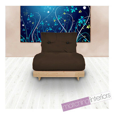 Brown Budget Single Futon Cotton Mattress 1 Seater Sofabed Sofa Guest Armchair