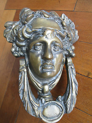 Large Old Solid Brass Lady Face Door Knocker