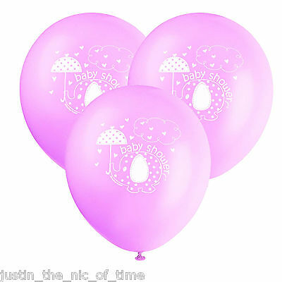 """PINK UMBRELLAPHANTS Baby Shower Girl Party Decorations 12"""" Latex BALLOONS x8"""