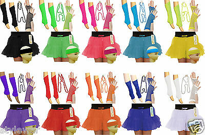 Ladies Girls 80'S Neon 2 Layers Tutu Skirt Set & Accessories Fancy Dress Uk 8-16