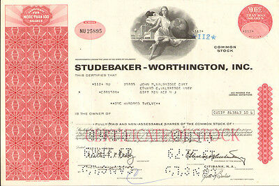Studebaker-Worthington > old auto car share red stock certificate