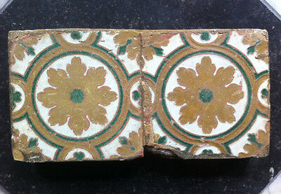 Antique 2 x Very Early Spanish Delft Maiolica Tile Floral/Ornamental Circa 16TH