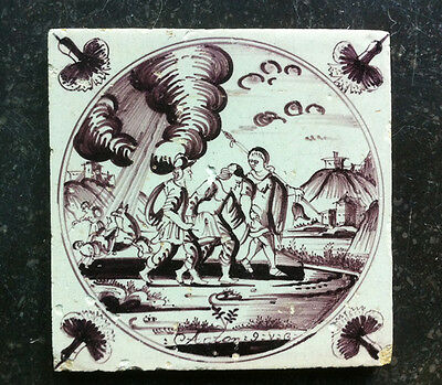 Antique Dutch Delft Tile Biblical Text Acton: 9: V: 8 Circa 1750