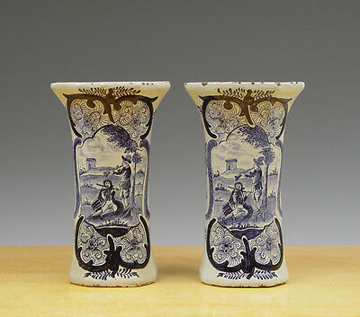 Antique Pair of Dutch Delft Baluster-Vases Flute-Players 19TH C. Marked