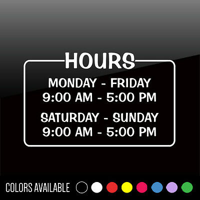 Custom Business HOURS OF OPERATION Window Vinyl Sticker Lettering