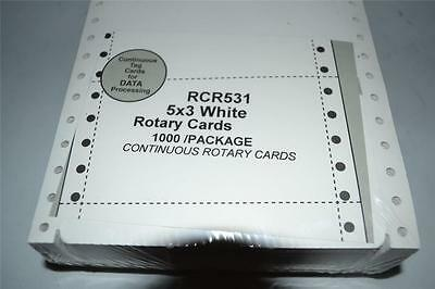 """1000 Rotary File Refill Cards 3"""" X 5"""" on Continuous Feed Form Fits Rolodex"""