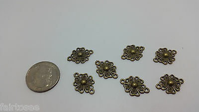 7 pc Antique Vintage Brass Look Filigree Flower Connector lot charms beads