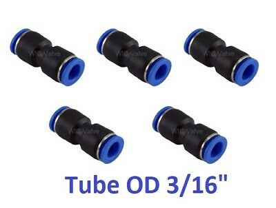 "Pneumatic Straight Union Tube OD 3/16"" Air Push In To Connect Fitting 5 Pieces"