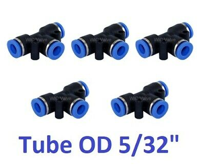 "Pneumatic Push In To Connect Fitting Tee Union Tube OD 5/32"" Quick Release 5pcs"