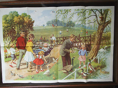 Original School Poster From Child Education Magazine - 1965 - In The Park