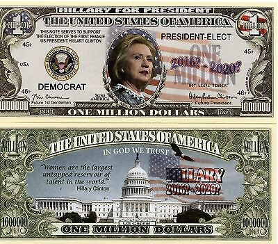 Hillary Clinton for President Million Dollar Novelty Money