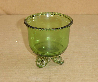 EAPG GREEN GOLD FOOTED SMALL SHERBET BOWL COLORADO STATE US GLASS 1898