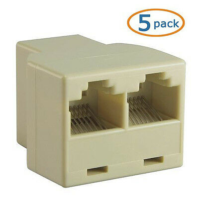 5pcs, Gold RJ45 Splitter 1 to 2 Way LAN Network Ethernet Adapter