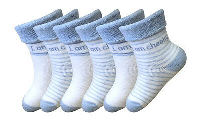 6 Pairs Baby Boys white blue cushioned striped cotton rich socks 6-12 months
