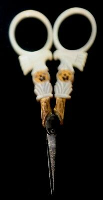 ORIGINAL ANTIQUE c1800~Mother of Pearl PALAIS ROYAL SEWING SCISSORS w/ 2 Pansies