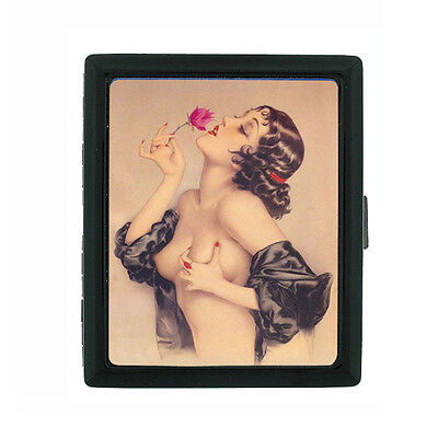 Metal Cigarette Case Holder Box Pin Up Girl Design-010 Rose Vintage