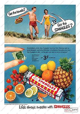Spangles : Vintage confectionary advertising poster reproduction