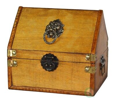 New Vintiquewise Small Pirate Chest/Decorative Box with Lion Rings, QI003043