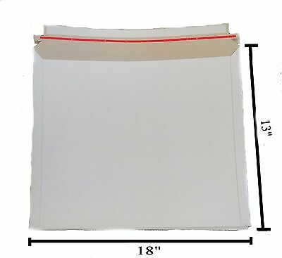 "25 - 13x18 13""x18""  Stay Flat Rigid Mailer Cardboard White Envelope Photo Large"