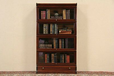 Globe Wernicke 4 Stack 1900 Antique Lawyer or Barrister Bookcase
