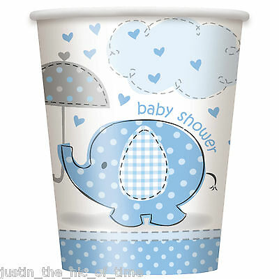 BLUE UMBRELLAPHANTS Baby Shower Boy Party Tableware Cup 9oz Paper CUPS x8