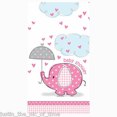 PINK UMBRELLAPHANTS Baby Shower Girl Party Supplies Tableware Plastic Tablecover