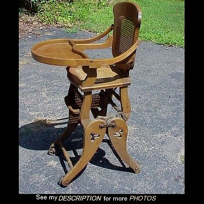 Antique Victorian Maple Fold Down High Chair / Rocker Combination