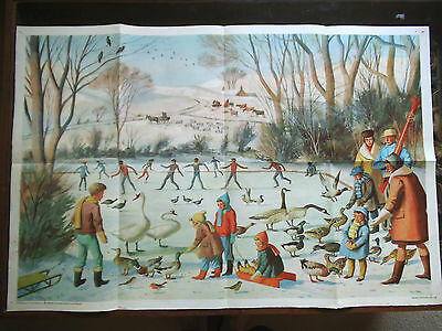 Original School Poster From Child Education Magazine-1966- Winter In The Park