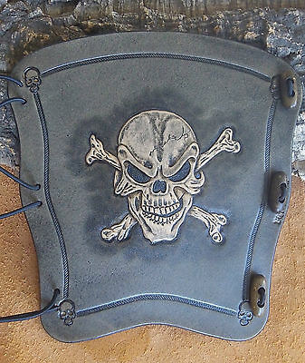 Hand carved leather archery arm guard,bracer,Skull n bone,smoke blk,LARP,Cosplay