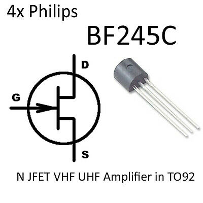 4x BF245C N-channel FET TO92 BF245 NFET VHF UHF RF