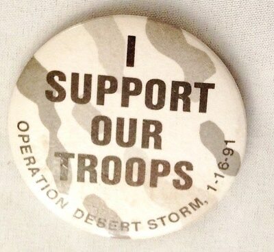 """Black White 2 1/4"""" I SUPPORT OUR TROUPS DESERT STORM Pin Button Jewelry"""