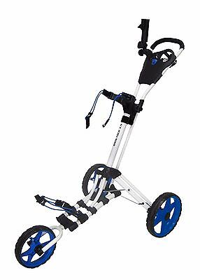 Founders 2016 Qwik Fold 3.5 3 Wheel Golf Push Pull Cart Trolley- White/Blue