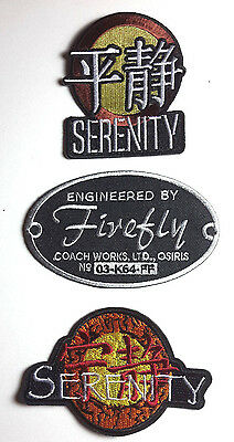 "Serenity/Firefly Logo Embroidered Patch Set of 3- 3"" to 4.5""-FREE S&H(SEPA-SET3)"