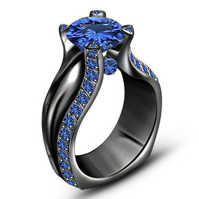 18k Black Gold .925 Silver 2 Carat Blue Sapphire Engagement Wedding Ring Sz 5 6