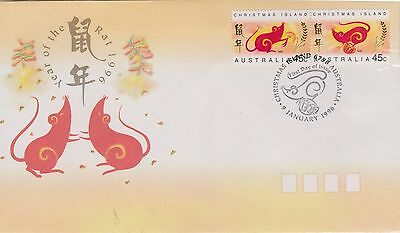 (AUF235)1996 ChristmasIsland 2stamps year of the rat(B