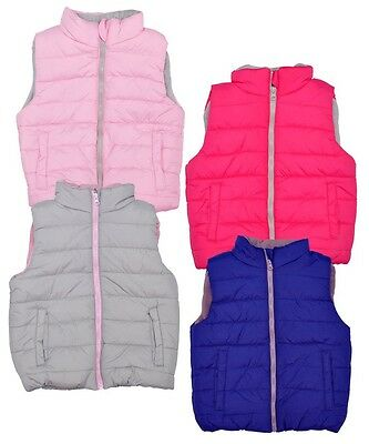 Girls Ex Chainstore Padded Gillets TEX Grey, Pink, Dark Pink Fast Delivery