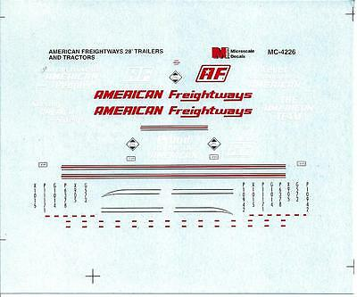 Microscale Decals #4226 - American Freightways decal, 1/87 scale.