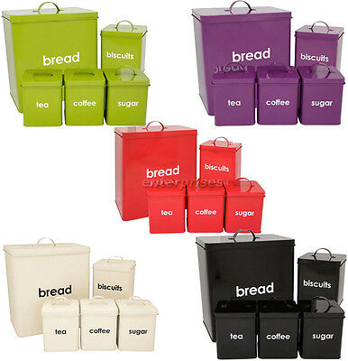 Metal 5Pc Piece Bread Bin Storage Canisters Set Sugar Coffee Tea Enamel Coated