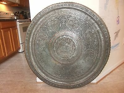 Quality Huge ANTIQUE? TINNED COPPER TRAY Persian Islamic Qajar INTRICATE DETAIL